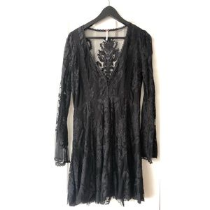 Free People- Black Lace Long Sleeve Dress